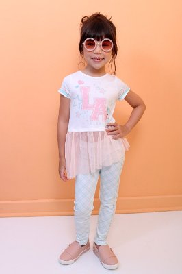 Conjunto infantil Petit Cherie Love Always com tule legging xadrez verde e rosa