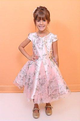 Vestido infantil de festa Petit Cherie floral tule luxo rosa