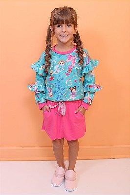 Conjunto infantil Mon Sucré moletom bailarina fada de saia azul e pink