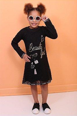 Vestido infantil Petit Cherie manga longa de telinha Beauty Girl preto
