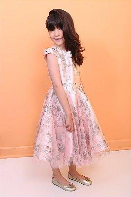 Vestido infantil de festa Petit Cherie fada floral com tule rosa