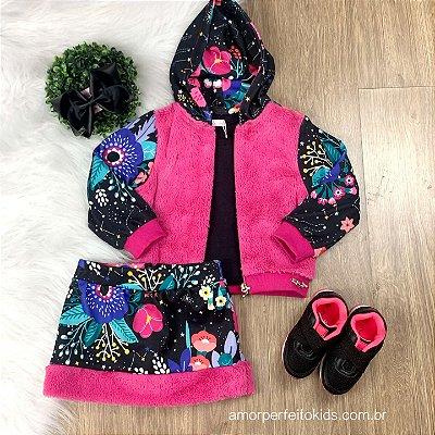 Conjunto infantil Mon Sucré jaqueta pelinho com saia estrelas
