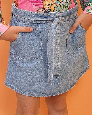 Saia jeans claro infantil Mon Sucré