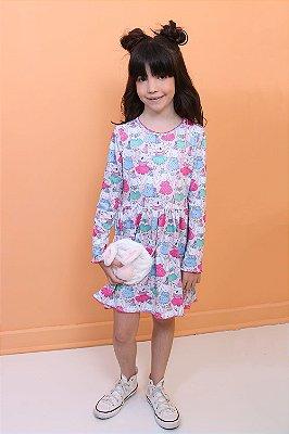 Vestido infantil Mon Sucré festa dos coelhinhos com bolsinha pelinho rosa