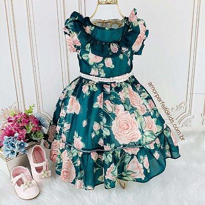 Vestido de festa infantil Petit Cherie toque de seda romantic floral verde e rosa