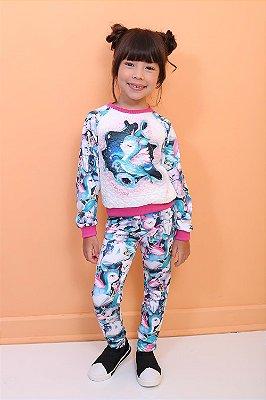 Conjunto infantil Mon Sucré moletim de unicórnio com legging azul tam 2