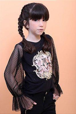 Blusa infantil Petit Cherie animal print manga longa em tule preta