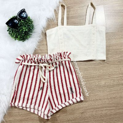 Shorts Teen moletom comfy listrado tumblr Tam 14