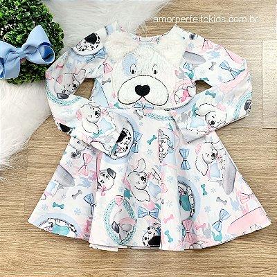 Vestido infantil Mon Sucré manga longa pets cachorrinho bordado tam 1