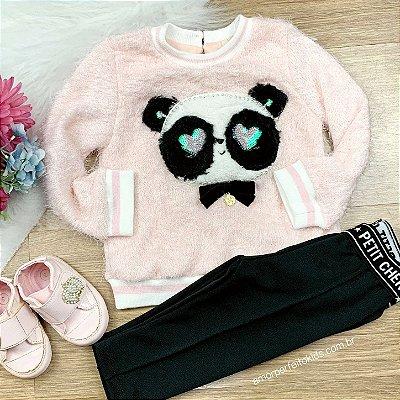 Blusa infantil Petit Cherie de bebê de pelinho rosa com panda