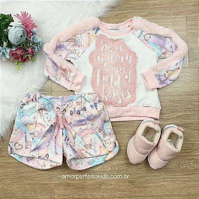 Conjunto de moletom infanti Mon Sucré blusa e shorts de unicórnio Tam 2