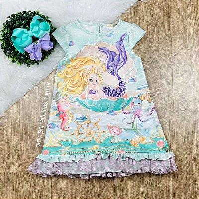 Vestido infantil Petit Cherie de sereia fundo do mar