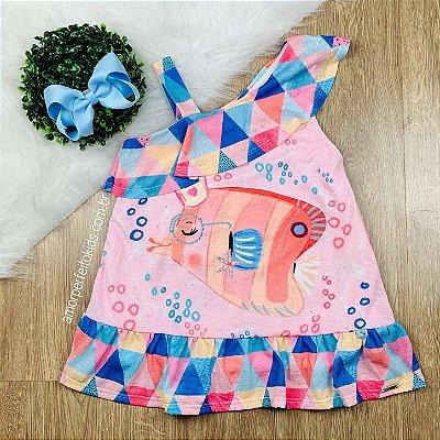Vestido infantil Mon Sucré fundo do mar peixinho