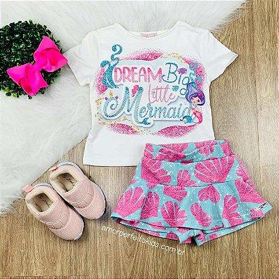Conjunto infantil Mon Sucré blusa e short-saia de sereia tam 1