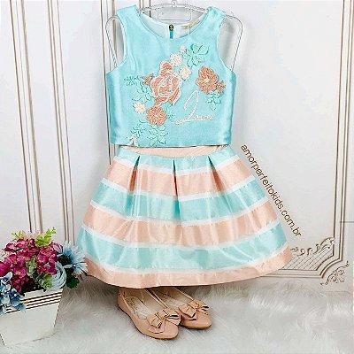 Conjunto infantil Petit Cherie cropped bordado e saia listrada de festa