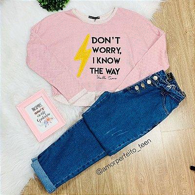 Blusa de Moletom teen tumblr cropped amplo raio e frase da Vanilla Cream