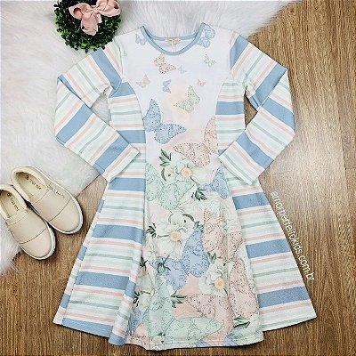 Vestido infantil casual Petit Cherie manga longa borboletas off white azul e verde tam 14