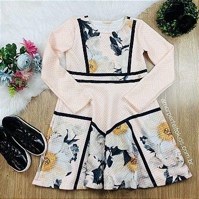 Vestido infantil Petit Cherie casual manga longa matelassê floral com brilho Tam 12