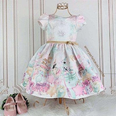Vestido infantil de festa Petit Cherie aniversário pets Tam 2