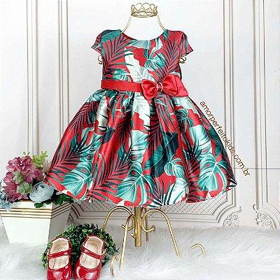 Vestido de festa bebê Petit Cherie folhagem vermelho e verde Tam P