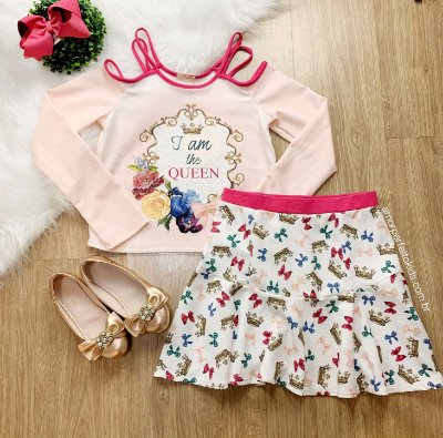 Conjunto infantil Petit Cherie blusa ombro de fora queen com saia coroas rosa tam 16