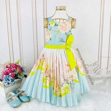 Vestido infantil de festa Petit Cherie jardim encantado plissado azul e neon Kids