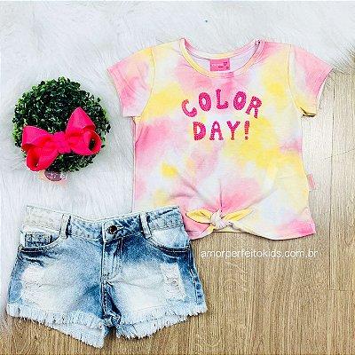 Blusa infantil tie dye color day nózinho amarela e rosa Momi