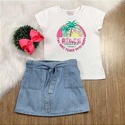 Blusa infantil beach coqueiros branca Momi Tam 16