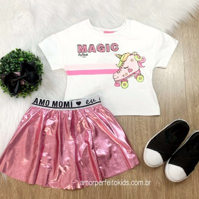 Conjunto infantil Momi blusa cropped magic patins unicórnio saia cirrê rosa Tam 3