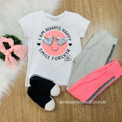Conjunto infantil com t-shirt smile e calça jogger mescla e neon Tam 12