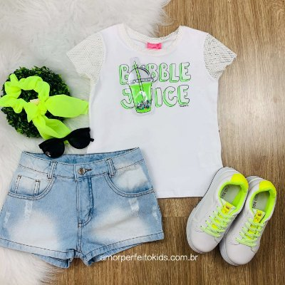 Blusa infantil Momi bubble juice off white e verde neon