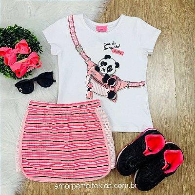 Conjunto infantil Momi blusa pandinha com saia neon Tamanho 1