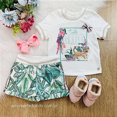 Conjunto infantil Petit Cherie menina verão safari blusa e short folhagens off white e verde