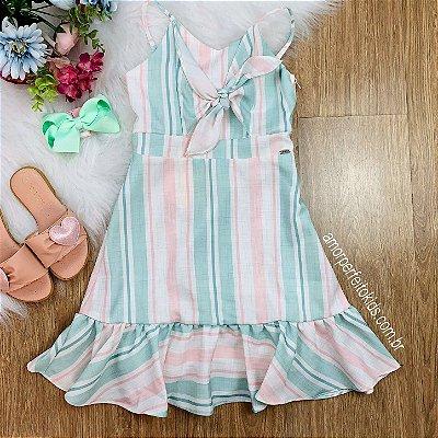 Vestido infantil Petit Cherie verão de alcinha listrado verde e rosa