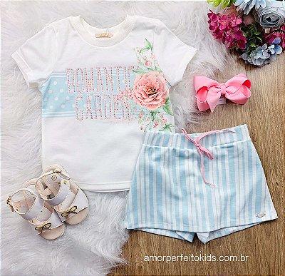 Conjunto infantil Petit Cherie menina blusa garden e short-saia listrado azul claro Tam 1