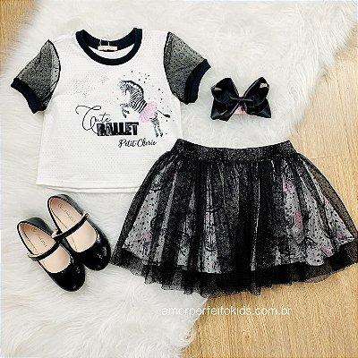 Conjunto Petit Cherie de saia tule menina zebra fashion lovers preto