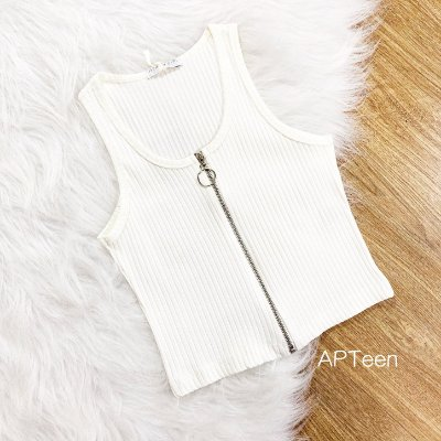 Blusa teen tumblr regata zíper off white Tam 20