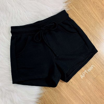 Shorts teen moletom basic preto