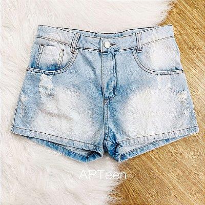 Shorts jeans teen Amofany curto claro tumblr Tam 16