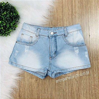 Shorts jeans infantil Amofany curto claro Tam 10