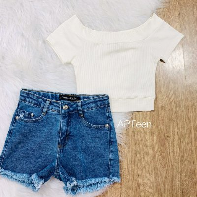 Short jeans teen feminino Vanilla Cream tumblr