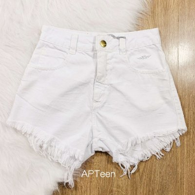 Short de sarja teen Lady Rock hot pant branco tumblr Tam 38