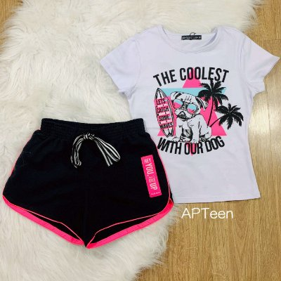 Conjunto Teen Vanilla Cream t-shirt dog e short moletom preto e neon tumblr