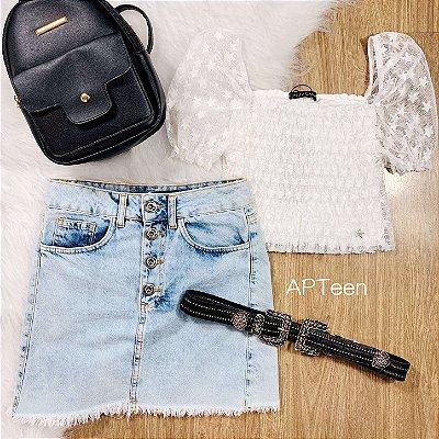 Cropped teen Vanilla Cream tule estrelas off white tumblr Tam 20