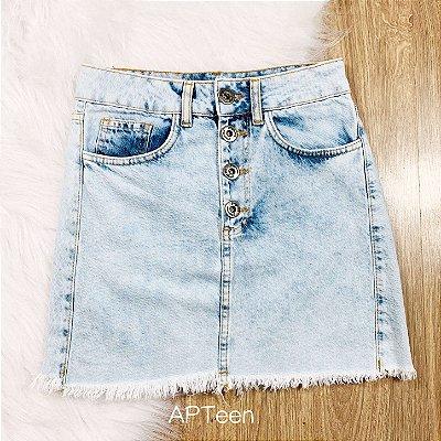 Saia jeans teen botões vintage lavagem média Tam 36