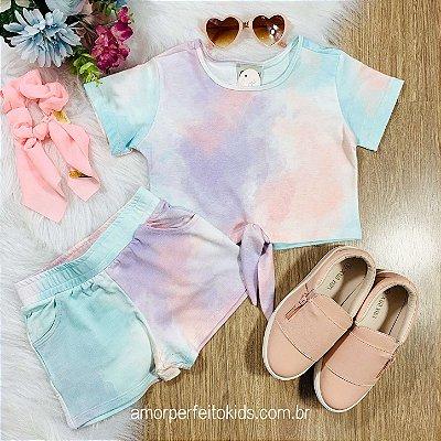 Conjunto infantil Catbalou blusa nózinho e shorts tie dye candy color