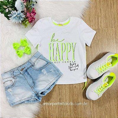 Camiseta infantil Petit Cherie colorfull be happy branca e amarelo neon