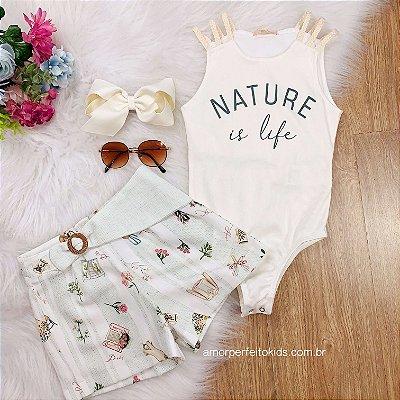 Conjunto Petit Cherie infantil body nature is life e shorts alfaiataria verde