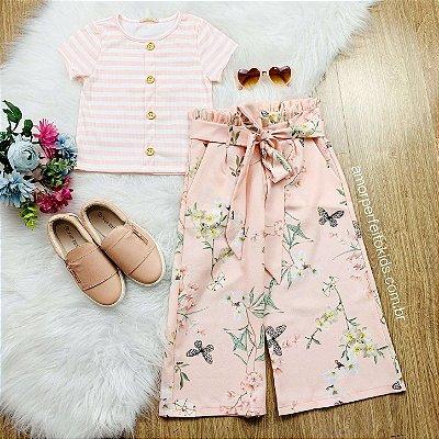Conjunto infantil Petit Cherie verão cropped garden e calça pantacourt rosa