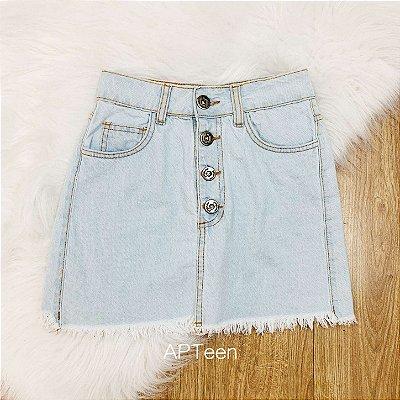 Saia jeans teen botões vintage lavagem clara Tam 36